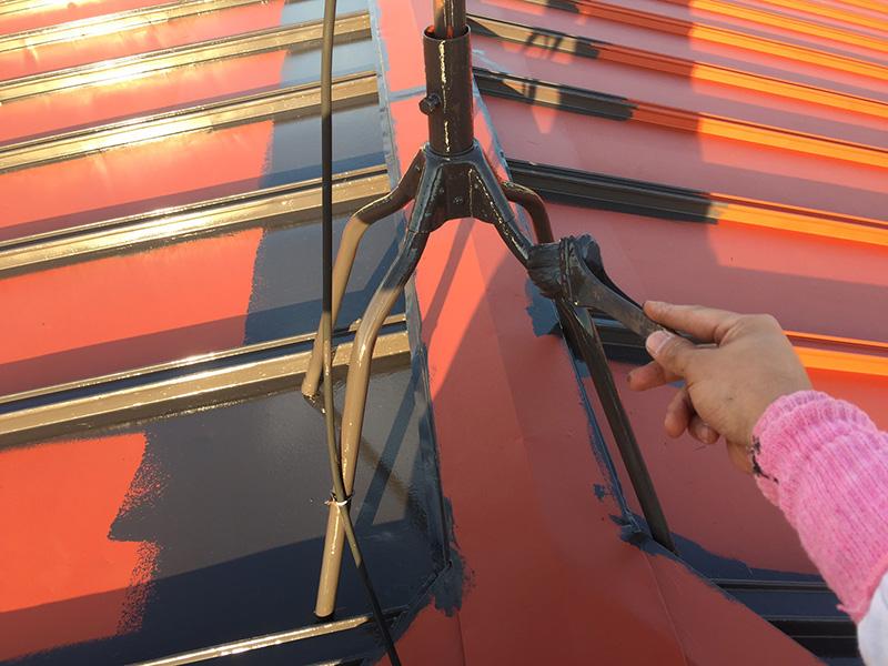 アンテナの錆止め塗装・トップコート塗装